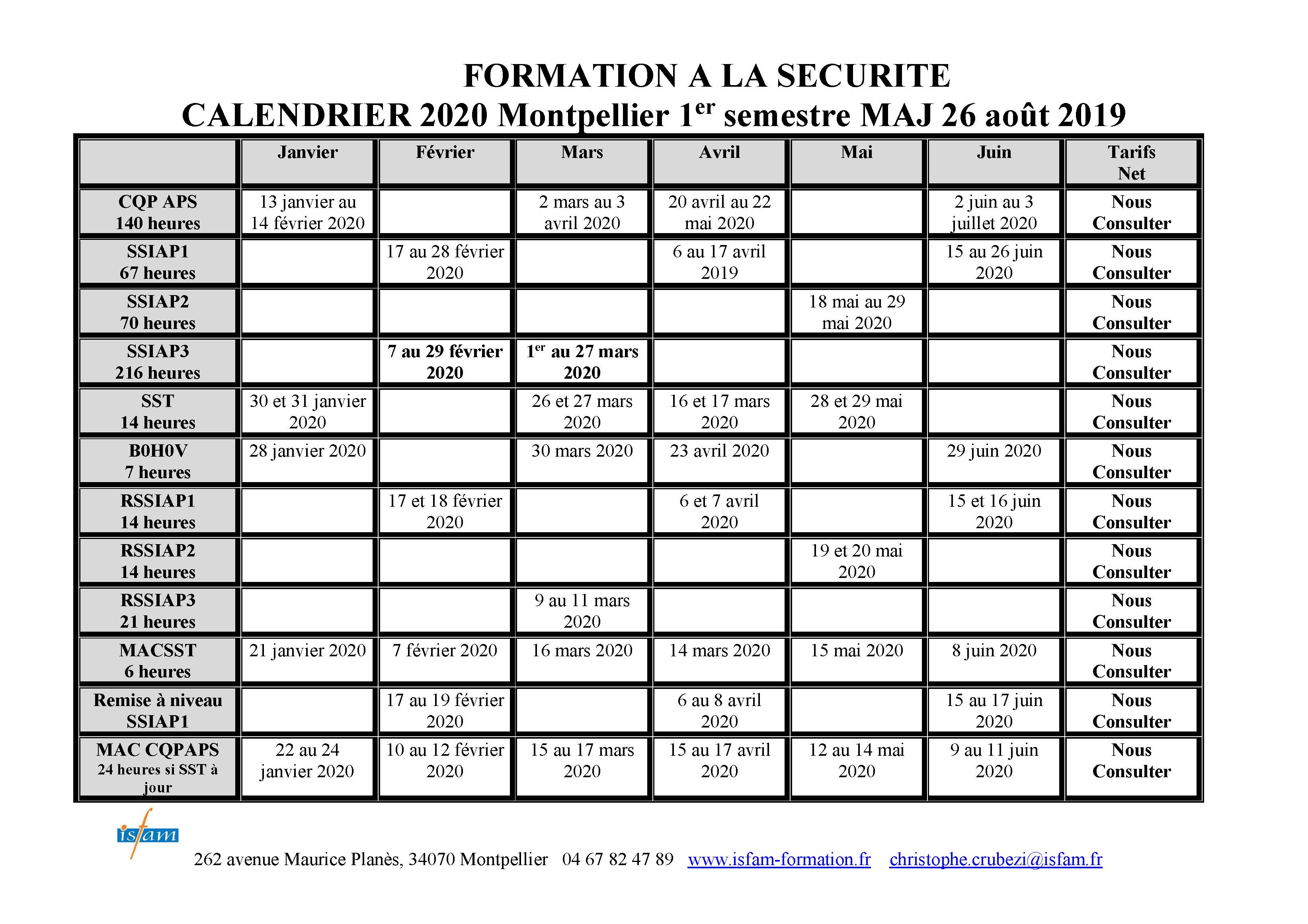 Calendrier De Fevrier 2020.Calendrier 2020 Isfam Formation